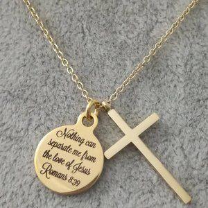 Gold Christian Cross Bible Scripture Necklace